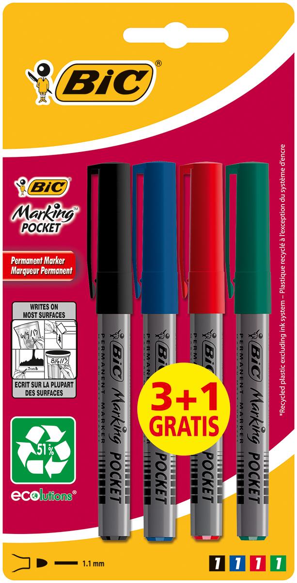 Bic Набор перманентных маркеров Marking Pocket 4 штB8803221Набор Bic Marking Pocket включает четыре перманентных маркера разных цветов для рисования на разных поверхностях. Удобная форма обеспечивает максимальный комфорт.