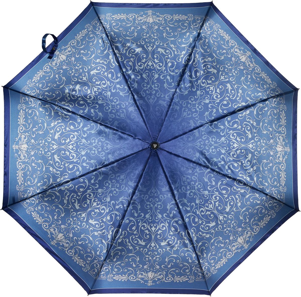 Зонт женский Fabretti, автомат, 3 сложения, цвет: синий. L-16105-10L-16105-10Зонт женский Fabretti, облегченный суперавтомат, 3 сложения