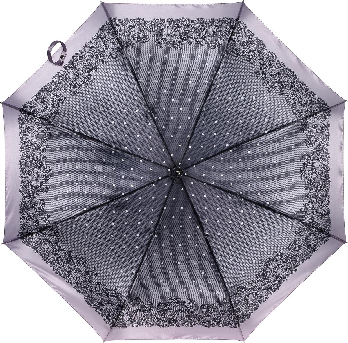 Зонт женский Fabretti, полный автомат, 3 сложения, цвет: серый. S-16100-9S-16100-9Зонт женский Fabretti, суперавтомат, 3 сложения, сатин