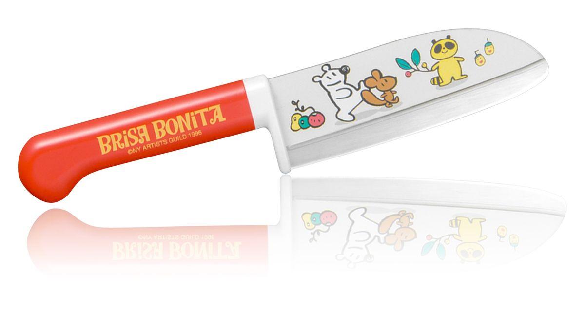 Нож сантоку Tojiro Brisa Bonita, детский, длина лезвия 11,5 см. BB-3BB-3Японская компания Tojiro представляет Brisa Bonita - специальная серия кухонных ножей для детей (9+). Эти ножи выполнены с учетом максимальной безопасности для ребенка, рукоять ножа изготовлена из высокопрочного пластика и имеет широкий упор под пальцы. Лезвие имеет закругленное острие и скрытую под упором пятку. Однако это полноценный кухонный нож и совсем не игрушка, он позволяет разрезать любые продукты с легкостью которая присуща всем ножам марки Tojiro.