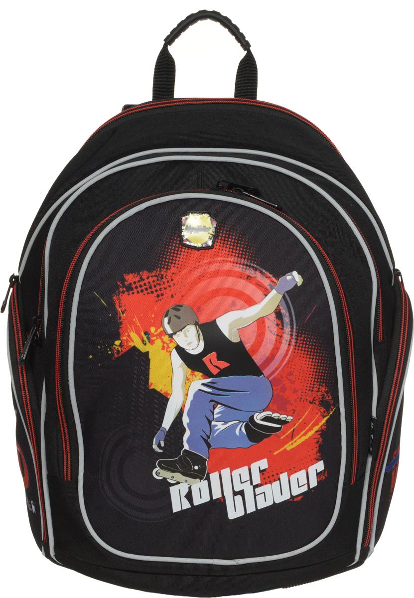 MagTaller Рюкзак детский Cosmo II Roller Blader20412-18Детский рюкзак MagTaller Cosmo II Roller Blader выполнен из надежных износостойких тканей - нейлона и полиэстера. Эргономичная спинка рюкзака дополнительно усилена рамкой из алюминия, повторяющей естественный изгиб позвоночника. Дно выполнено из PVC, а ножки - из прочного пластика, они надежно защищают содержимое рюкзака от воды и грязи. Уплотненные регулируемые лямки уменьшают нагрузку на плечи ребенка. Фиксаторы лямок позволяют закрепить концы лямок при помощи пластиковых крючков. Светоотражающие элементы уменьшают риск ДТП в темное время суток. Рюкзак содержит два вместительных отделения, закрывающихся на застежки-молнии. В первом отделении находится пришивной карман на молнии, во втором отделении находится органайзер, предназначенный для хранения мобильного телефона, пишущих принадлежностей и других мелочей, также здесь находится лента с карабином для ключей. Дно рюкзака можно сделать более устойчивым, разложив специальную панель. На лицевой стороне находится...