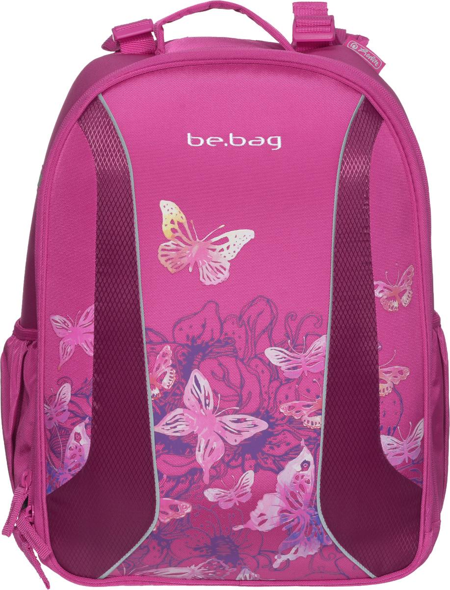 Herlitz Ранец школьный Be Bag Watercolor Butterfly11409992Школьный ранец Herlitz Be Bag. Watercolor Butterfly изготовлен по жестко-каркасной технологии, что обеспечивает правильную эргономичную форму. Каркас не деформируется при нагрузке и распределяет вес по всей площади ранца. Ранец содержит два вместительных отделения, закрывающихся на застежки-молнии с двумя бегунками. В большом отделении находится мягкая перегородка для тетрадей или учебников, фиксирующаяся хлястиком на липучке. Во втором отделении расположены карман-сетка, органайзер для канцелярских принадлежностей, кармашек под мобильный телефон и пластиковый карабин для ключей. Изделие имеет два открытых боковых кармана. Ранец оснащен регулируемыми по длине плечевыми лямками и дополнен текстильной ручкой для переноски в руке. Грудное крепление создано специально для фиксации лямок на плечах ребенка. Прочное дно с пластиковыми ножками придает ранцу хорошую устойчивость и защиту от загрязнений. Светоотражающие элементы обеспечивают безопасность в темное время суток. ...