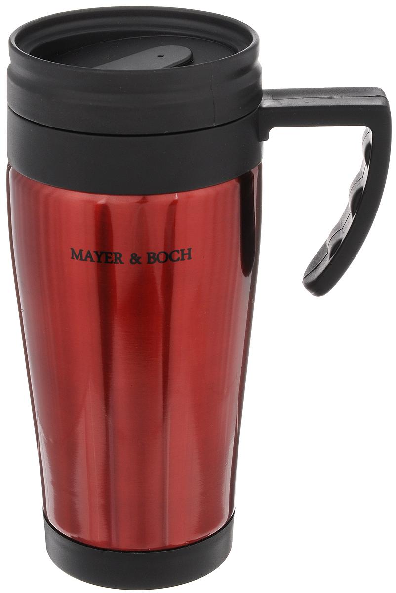 Термокружка Mayer & Boch, цвет: красный, черный, 450 мл. 2587725877Герметичная термокружка Mayer & Boch изготовлена из высококачественного полипропилена и нержавеющей стали, удобна для использования в быту, походе и путешествиях. Она оснащена крышкой с системой быстрого открывания для легкого питья. Подходит для горячих и холодных напитков. Не рекомендуется мыть в посудомоечной машине. Можно хранить в холодильнике. Диаметр по верхнему краю: 7,5 см. Диаметр дна: 6,5 см. Высота: 18,5 см.