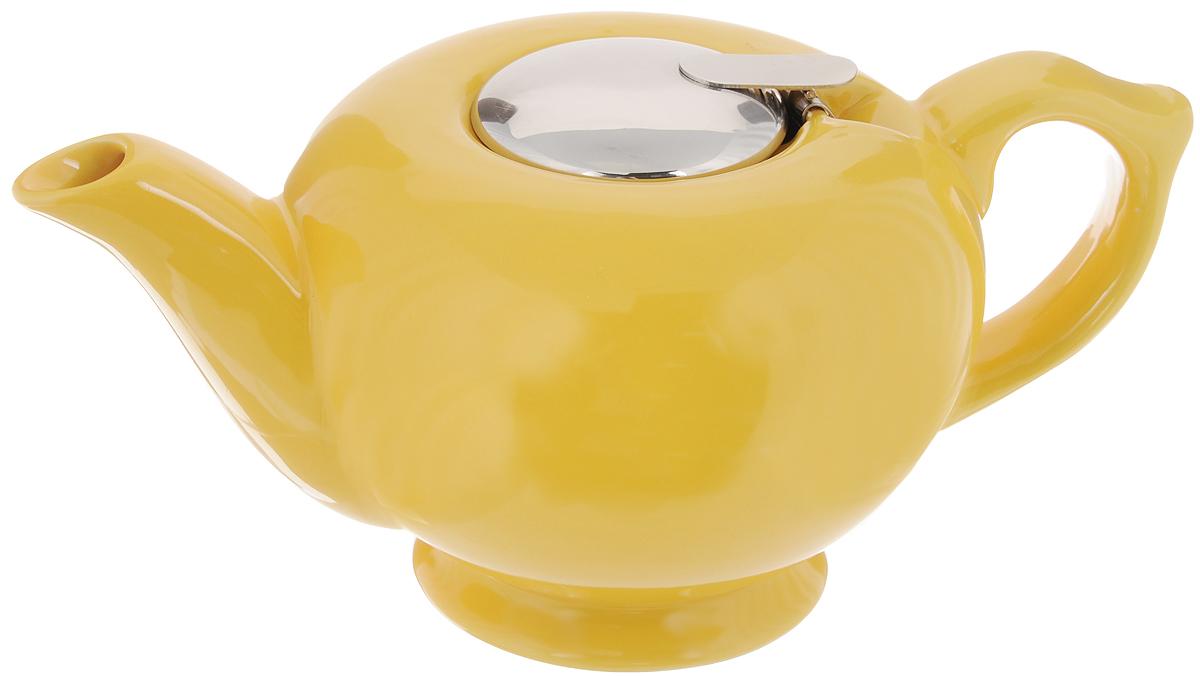 Чайник заварочный Loraine, с фильтром, цвет: желтый, 1,2 л23060Заварочный чайник Loraine изготовлен из высококачественной керамики и снабжен крышкой из нержавеющей стали. Изделие оснащено фильтром, который задерживает чаинки и предотвращает их попадание в чашку. Глянцевый корпус обеспечивает легкую очистку. Чайник поможет заварить крепкий ароматный чай и великолепно украсит стол к чаепитию. Диаметр чайника (по верхнему краю): 12,5 см. Высота чайника (без учета крышки): 12 см. Высота фильтра: 6 см.