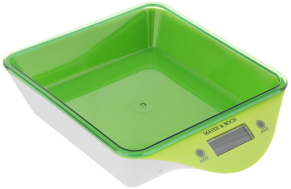 Весы кухонные Mayer & Bosh, с чашей, цвет: салатовый, белый, до 5 кг. 1095710957_салатовый, белыйВесы кухонные Mayer & Boch позволят вам взвесить с точностью до грамма продукты весом до 5 кг. Корпус весов и чаша для продуктов выполнены из высококачественного пластика. Весы оснащены электронным дисплеем. На корпусе расположены две кнопки управления: кнопка включения/отключения и обнуления веса - On/Off/Tare и кнопка выбора меры весов - Unit. Если вы забудете отключить весы, они отключатся автоматически. Дно весов снабжено четырьмя противоскользящими ножками. Кухонные весы Mayer & Boch придутся по душе каждой хозяйке и станут незаменимым аксессуаром на кухне. Нагрузка: 2-5000 г. Питание: 2 х ААА (входят в комплект). Размер весов: 22 х 18 х 5,5 см. Размер чаши: 18 х 18 х 4 см.