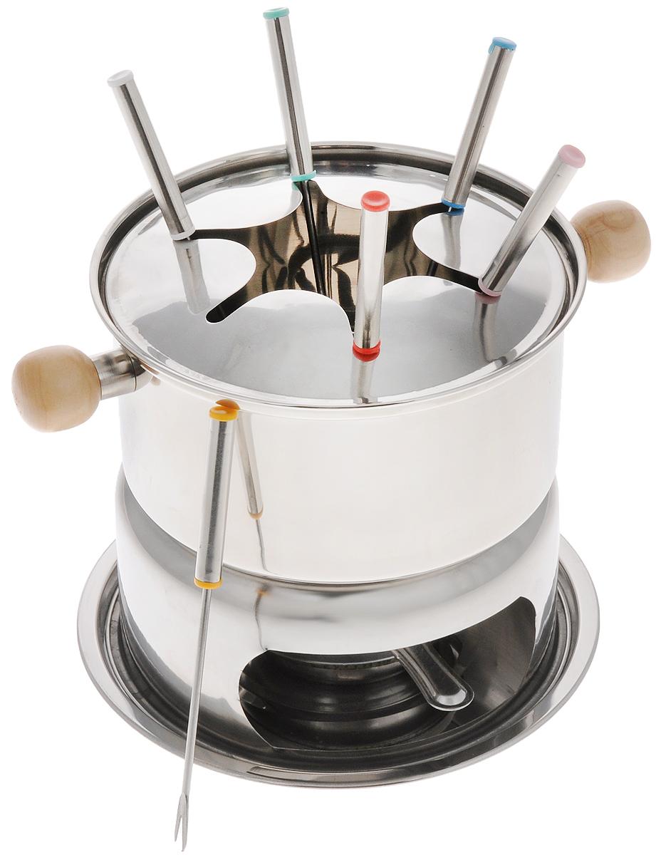 Набор для фондю Mayer & Boch, 11 предметов. 2335623356Набор для фондю Mayer & Boch, выполненный из нержавеющей стали, рассчитан на 6 персон. В состав входят кастрюля для фондю с удобными деревянными ручками, кольцо для вилочек, горелка с заслонкой, шесть вилок и подставка. Данный набор прекрасно будет смотреться на столе и придаст вашему празднику, коктейльной вечеринке или интимному ужину праздничное настроение. Используйте этот набор для приготовления сырных и сладких смесей для фондю. Нарежьте кусочки хлеба, мяса, овощей, бананов, клубники, ананаса или зефира на кубики. Этот универсальный набор позволит каждому из ваших гостей насладиться тем продуктом, который им нравится больше всего, а также каждому предоставит возможность побыть своим личным шеф- поваром. Вы получите огромное удовольствие при приготовлении продуктов с помощью набора для фондю в любое время. Можно мыть в посудомоечной машине. Диаметр кастрюли (по верхнему краю): 16 см. Диаметр основания кастрюли: 14 см. Высота...