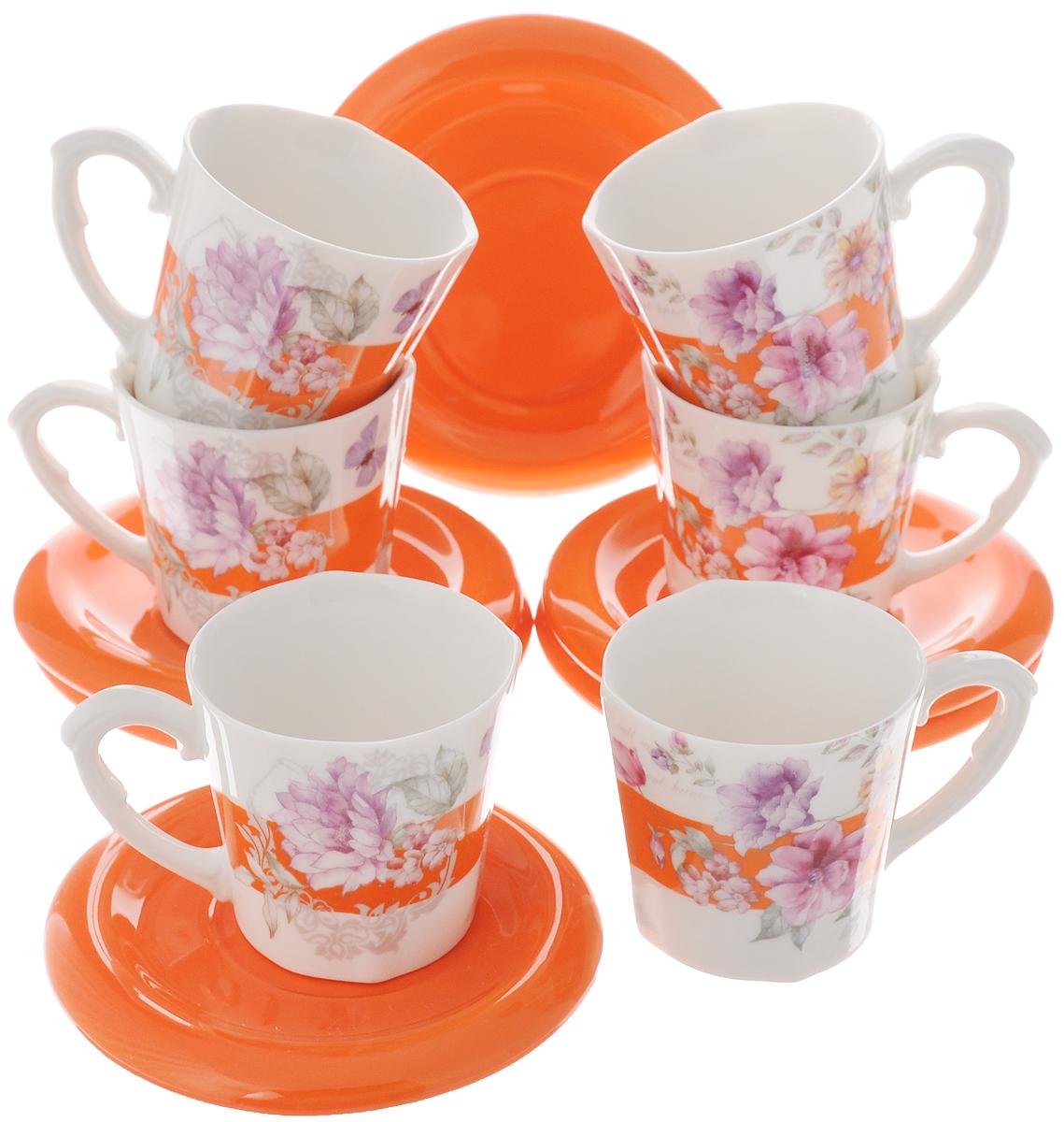 Набор кофейный Loraine, цвет: белый, оранжевый, сиреневый, 12 предметов. 2472324723Набор Loraine состоит из шести чашек и шести блюдец, изготовленных из высококачественной керамики. Такой набор подходит для подачи свежесваренного кофе. Изящный дизайн придется по вкусу и ценителям классики, и тем, кто предпочитает утонченность и изысканность. Он настроит на позитивный лад и подарит хорошее настроение с самого утра. Набор упакован в стильную подарочную коробку. Внутренняя часть коробки задрапирована белой атласной тканью. Каждый предмет надежно зафиксирован внутри коробки благодаря специальным выемкам. Чайный набор - идеальный и необходимый подарок для вашего дома и для ваших друзей в праздники, юбилеи и торжества! Он также станет отличным корпоративным подарком и украшением любой кухни. Можно мыть в посудомоечной машине. Объем чашки: 100 мл. Диаметр чашки (по верхнему краю): 6 см. Высота чашки: 6 см. Диаметр блюдца: 10 см.