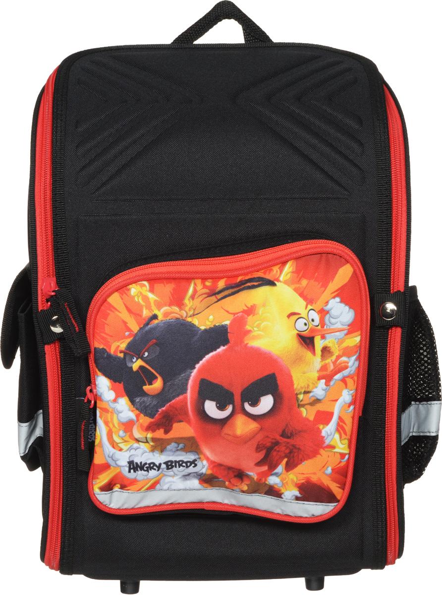 Angry Birds Ранец школьный цвет черный красныйABDB-MT1-118Школьный ранец Angry Birds с изображением героев известного одноименного мультфильма. Ранец представлен в виде трансформера. Он может полностью раскладываться. Изделие содержит одно вместительное отделение, закрывающееся клапаном на застежку-молнию с двумя бегунками. Внутри отделения находятся две мягкие перегородки на резинке и открытый карман- сетка. На лицевой стороне расположен накладной карман на молнии. По бокам находятся два кармана: один закрывается клапаном на липучке, второй – открытый. Полужесткий каркас и форма спинки способствуют равномерному распределению нагрузки и формированию правильной осанки. Мягкие анатомические лямки позволяют легко и быстро отрегулировать ранец в соответствии с ростом. У ранца имеется текстильная ручка для переноски в руке. Прочное дно с пластиковыми ножками обеспечивает ранцу хорошую устойчивость. Светоотражающие элементы не оставят незамеченным вашего ребенка в темное время суток. Вес ранца без наполнения...