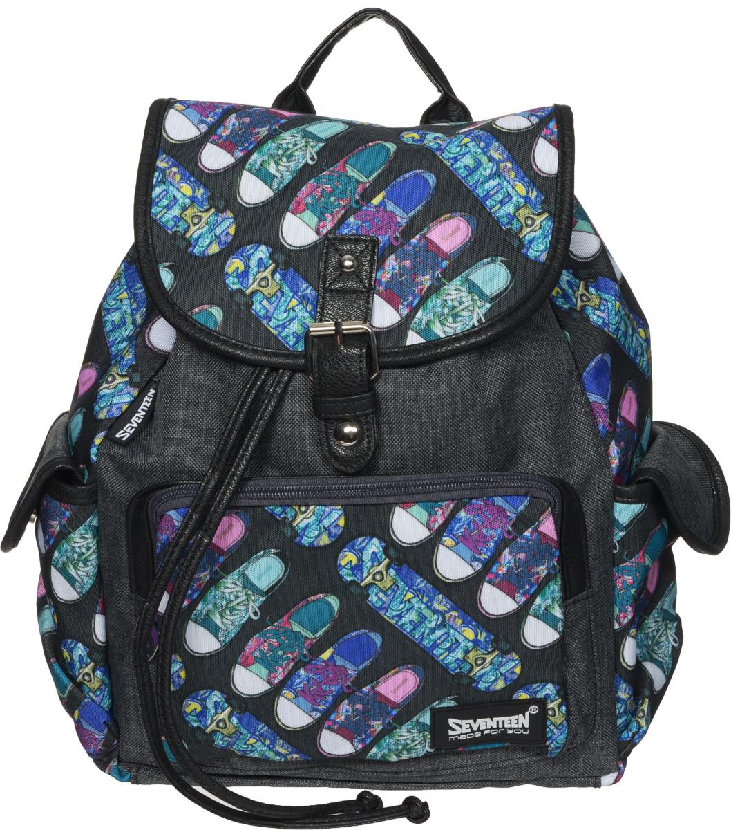 Seventeen Рюкзак детский цвет серыйSVCB-RT1-534Стильный детский рюкзак Seventeen сочетает в себе современный дизайн, функциональность и долговечность. Рюкзак состоит из вместительного отделения, которое стягивается кожаным шнурком, а сверху дополнительно закрывается небольшим клапаном на магнитную кнопку с декоративным элементом в виде пряжки. Внутри отделения расположены: прорезной карман на застежке-молнии и два открытых небольших кармашка. Лицевая сторона рюкзака оснащена накладным карманом, закрывающимся на молнию. По бокам изделия находятся два кармана, закрывающиеся клапанами на магнитные кнопки. Лямки рюкзака регулируются по длине. У рюкзака имеется кожаная ручка для переноски в руке. Этот рюкзак можно использовать для повседневных прогулок, отдыха и спорта, а также как элемент вашего имиджа.