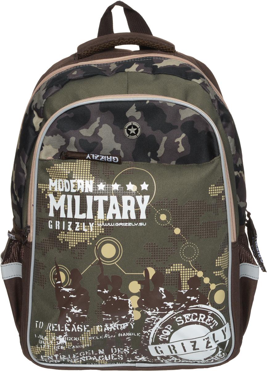 Grizzly Рюкзак детский Modern Military цвет коричневый хакиRB-632-2/2Детский рюкзак Grizzly Modern Military - это стильный рюкзак, который подойдет всем, кто хочет разнообразить свои школьные будни. Рюкзак выполнен из плотного полиэстера. Благодаря уплотненной спинке и двум мягким плечевым ремням, длина которых регулируется, у ребенка не возникнет проблем с позвоночником. Конструкция спинки дополнена двумя эргономичными подушечками, противоскользящей сеточкой и системой вентиляции для предотвращения запотевания спины ребенка. Рюкзак состоит из двух основных вместительных отделений, закрывающихся на застежки-молнии. Большое отделение содержит небольшой пришивной кармашек на молнии и два мягких разделителя для тетрадей и учебников, фиксирующихся резинкой. Дно рюкзака можно сделать жестким, разложив специальную панель с пластиковой вставкой, что повышает сохранность содержимого рюкзака и способствует правильному распределению нагрузки. Во втором отделении карманов нет. Лицевая сторона оснащена вместительным накладным...