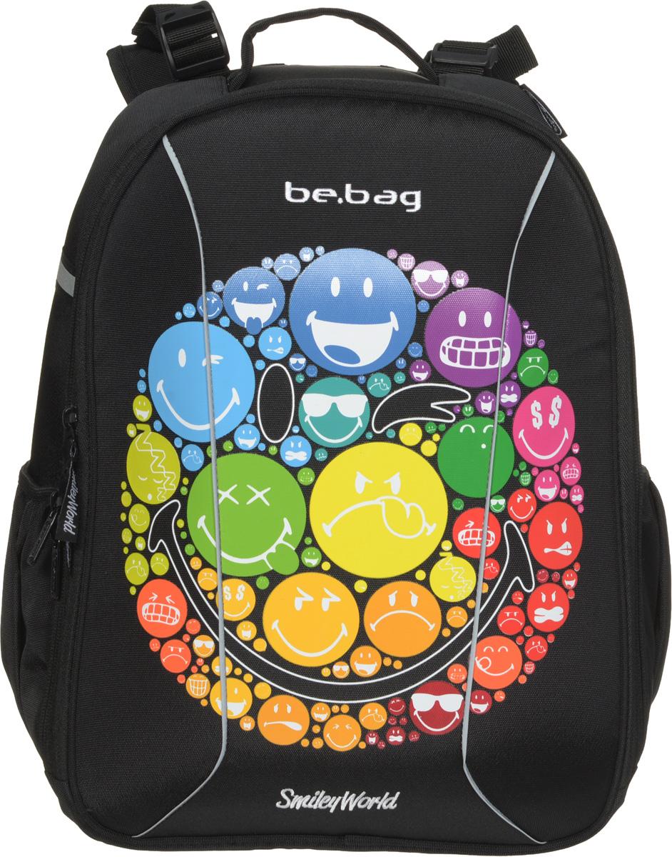 Herlitz Ранец школьный Be Bag SmileyWorld Rainbow11437951Школьный ранец Herlitz Be Bag. SmileyWorld Rainbow изготовлен по жестко- каркасной технологии, что обеспечивает правильную эргономичную форму. Каркас не деформируется при нагрузке и распределяет вес по всей площади ранца. Ранец содержит два вместительных отделения, закрывающихся на застежки-молнии с двумя бегунками. В большом отделении находится мягкая перегородка для тетрадей или учебников, фиксирующаяся хлястиком на липучке. Во втором отделении расположены карман-сетка, органайзер для канцелярских принадлежностей, кармашек под мобильный телефон и пластиковый карабин для ключей. Изделие имеет два открытых боковых кармана. Ранец оснащен регулируемыми по длине плечевыми лямками и дополнен текстильной ручкой для переноски в руке. Грудное крепление для фиксации лямок на плечах ребенка. Прочное дно с пластиковыми ножками придает ранцу хорошую устойчивость и защиту от загрязнений. Светоотражающие элементы обеспечивают безопасность в темное время суток. ...