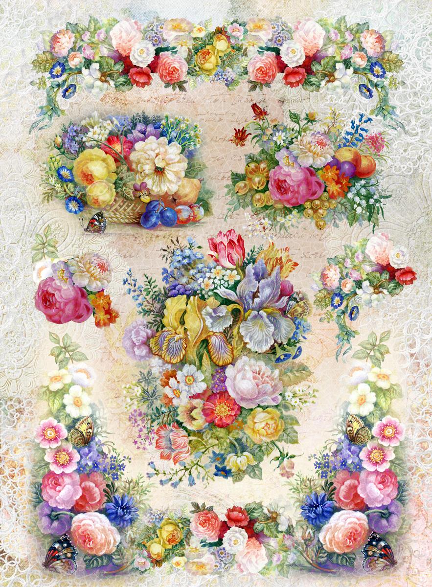 Рисовая бумага для декупажа Craft Premier Любимые цветы, А3CPD0576Плотность бумаги 25 г/м
