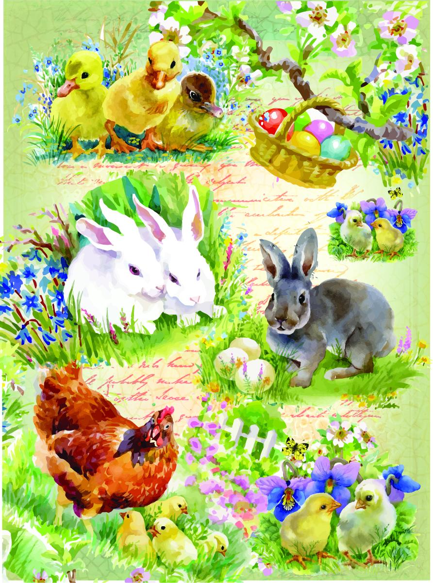 Рисовая бумага для декупажа Craft Premier Цыплята и кролики, А3CPD0578Плотность бумаги 25 г/м
