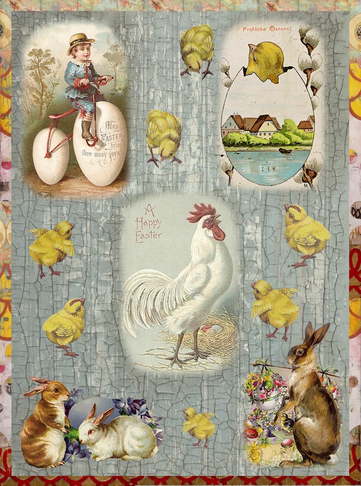 Рисовая бумага для декупажа Craft Premier Кролики и петушки, А3CPD0583Плотность бумаги 25 г/м