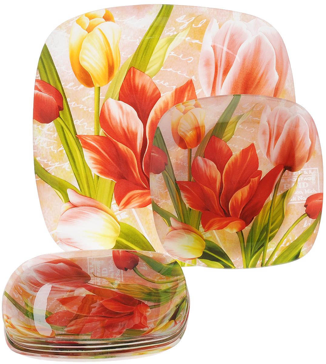 Набор посуды Loraine, 7 предметов. 2391523915Набор Loraine, выполненный из закаленного стекла, состоит из шести тарелок и блюда. Тарелки декорированы ярким цветочным рисунком. Они сочетают в себе изысканный дизайн с максимальной функциональностью. Оригинальность оформления тарелок придется по вкусу и ценителям классики, и тем, кто предпочитает утонченность и изящность. Набор посуды послужит отличным подарком к любому празднику. Можно мыть в посудомоечной машине. Размер тарелки: 19,5 х 19,5 см. Размер блюда: 30 х 30 см.