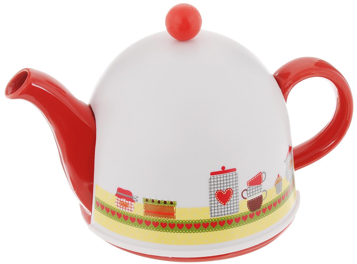 Чайник заварочный Mayer & Boch, с термоколпаком, с фильтром, 800 мл. 2431024310Заварочный чайник Mayer & Boch, выполненный из глазурованной керамики, позволит вам заварить свежий, ароматный чай. Чайник оснащен сетчатым фильтром из нержавеющей стали. Он задерживает чаинки и предотвращает их попадание в чашку. Сверху на чайник одевается термоколпак из пластика. Внутренняя поверхность термоколпака отделана теплосберегающей тканью. Он поможет дольше удерживать тепло, а значит, вода в чайнике дольше будет оставаться горячей и пригодной для заваривания чая. Заварочный чайник Mayer & Boch эффектно украсит стол к чаепитию, а также послужит хорошим подарком для ваших друзей и близких. Диаметр чайника (по верхнему краю): 6 см. Диаметр основания чайника: 14 см. Диаметр фильтра (по верхнему краю): 5,5 см. Высота фильтра: 5,8 см. Высота чайника (без учета термоколпака и крышки): 9,5 см. Размер термоколпака: 15 х 14 х 13,5 см.
