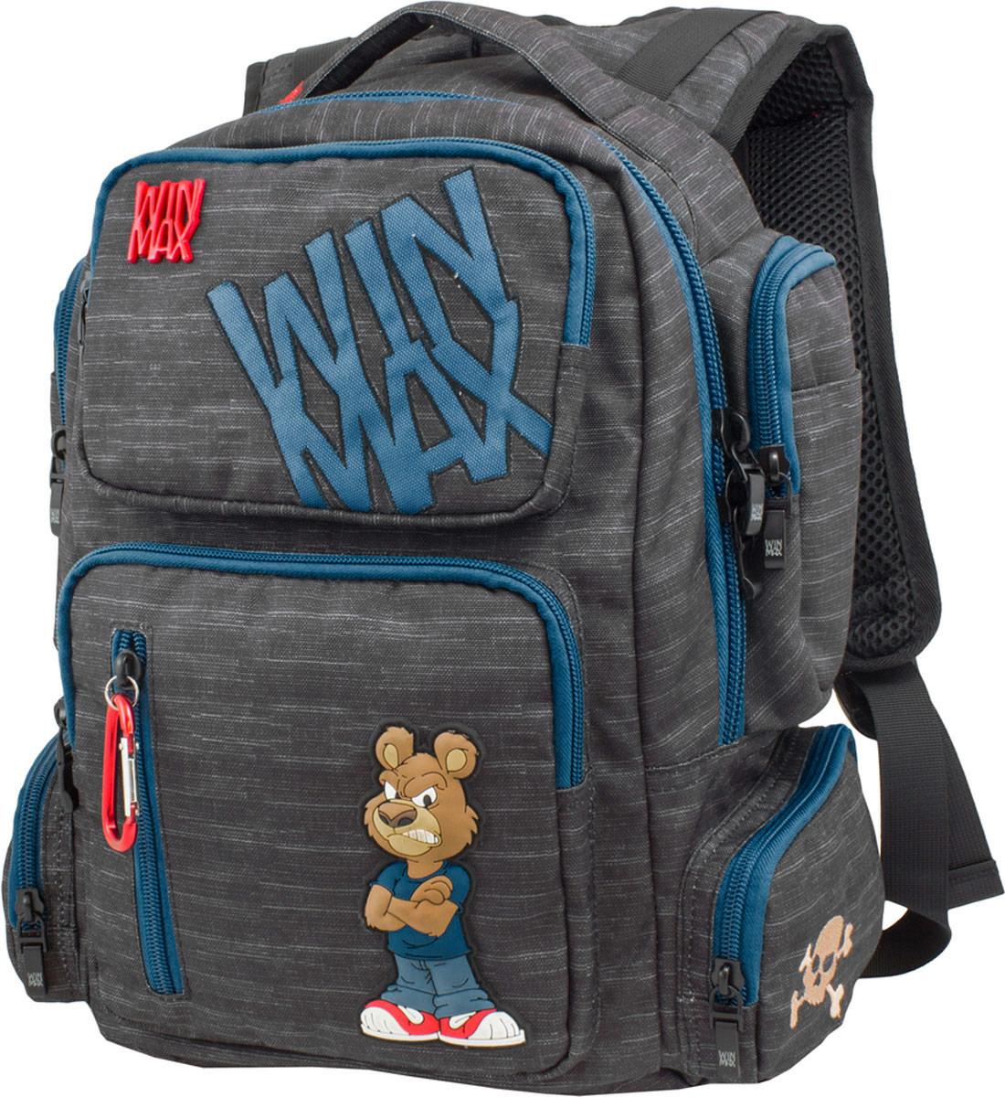 WinMax Рюкзак детский цвет черный синий K-544K-544_чер/синРюкзак WinMax, украшенный оригинальной вышивкой и стильной объемной аппликацией. Эта модель не только красива и оригинальна, но и очень практична и удобна. Благодаря качественному, легкому и прочному материалу, рюкзак долговечен в носке, а множество отделений поможет разместить все необходимые вещи школьника. Если вы ищите, что-то совершенно необычное по стилю, оригинальное и качественное, советуем обратить внимание на него. Рюкзак имеет одно вместительно отделение на молнии. Внутри имеется мягкое отделение на липучке для планшета или ноутбука и открытый накладной карман-сетка. Отделение дополнено нашивкой, в которую можно занести личные данные владельца. На лицевой стороне рюкзака расположились врезной два накладных кармана на молниях. Верхний карман содержит два открытых накладных кармашка. Внутри нижнего кармана имеются два открытых накладных кармана, кармашек-сетка на молнии и три открытых кармашка под канцелярские принадлежности. По бокам рюкзака...