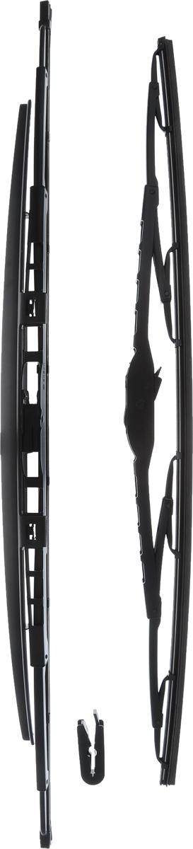 Щетка стеклоочистителя Bosch 801S, каркасная, со спойлером, длина 53/60 см, 2 шт3397001802Комплект Bosch 801S состоит из двух щеток разной длины, выполненных по современной технологии из высококачественных материалов. Они обеспечивают идеальную очистку стекла в любую погоду. TWIN Spoiler - серия классических каркасных щеток со спойлером от компании Bosch. Эти щетки имеют полностью металлический каркас с двойной защитой от коррозии и сверхточный профиль резинового элемента с двумя чистящими кромками. Спойлер выполнен в виде крыла, который закрывает каркас щетки от воздушного потока. Комплектация: 2 шт. Длина щеток: 53 см; 60 см.