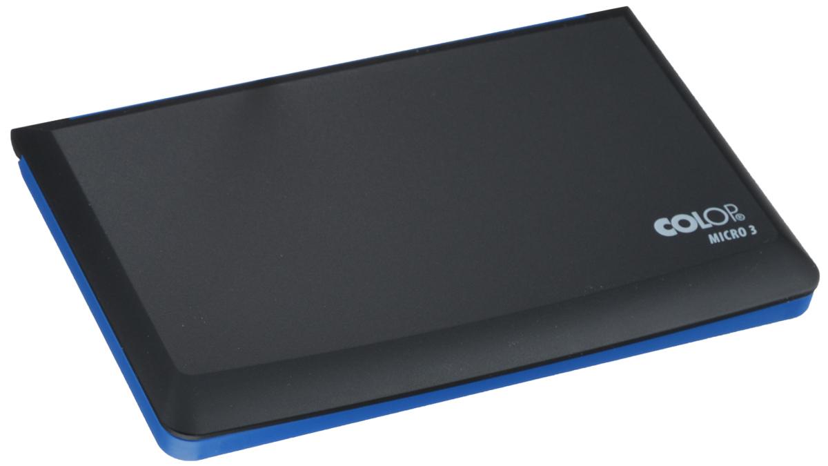 Colop Настольная штемпельная подушка цвет синий 90 х 160 ммMICRO3 сНастольная штемпельная подушка Colop имеет пластиковый корпус без замка. Заправлена краской на водной основе с содержанием глицерина. Используется для окрашивания ручных штампов, изготовленных из резины или полимера. Цвет - синий.