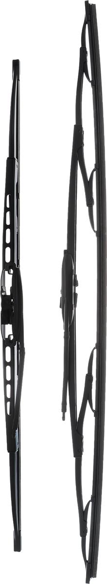 Щетка стеклоочистителя Bosch 725, каркасная, длина 55/65 см, 2 шт3397001725Комплект Bosch 725 состоит из двух щеток разной длины, выполненных по современной технологии из высококачественных материалов. Они обеспечивают идеальную очистку стекла в любую погоду. TWIN - серия классических каркасных щеток от компании Bosch. Эти щетки имеют полностью металлический каркас с двойной защитой от коррозии и сверхточный профиль резинового элемента с двумя чистящими кромками. Комплектация: 2 шт. Длина щеток: 55 см; 65 см.