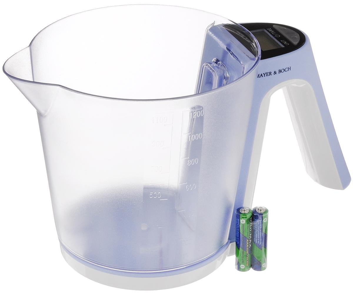 """Mayer & Boch Весы кухонные """"Mayer & Bosh"""", с чашей, цвет: сиреневый, белый, до 2 кг. 10956"""