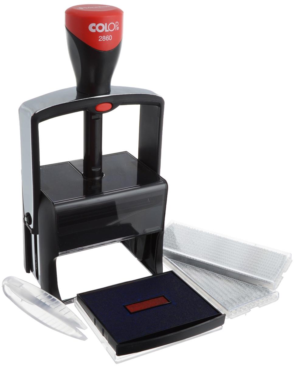 Colop Датер самонаборный десятистрочный Classic LineS2860 Set-FСамонаборный десятистрочный датер Colop Classic Line имеет металлический каркас, обрамлен пластиком. Автоматическое окрашивание текста. Встроенная антибактериальная защита на основе 3G-серебра в ручке и колпачке. Предназначен для работы с повышенной нагрузкой. Мягкость и бесшумность хода, легкий доступ к колесам смены даты. Ленты датерных механизмов закрыты специальным кожухом, который гарантирует абсолютную чистоту в процессе использования. Рифленая пластина для набора текста расположена вокруг даты, дата 4 мм - в центре, рассчитана на 12 лет, включая текущий год. В комплекте: датер с рифленой пластиной, пинцет, две кассы букв Type Set A и B, двухцветная сменная подушка. Размер: 68 мм х 49 мм. Месяц буквами. Крепление символов на одной ножке, экспресс-набор текста.