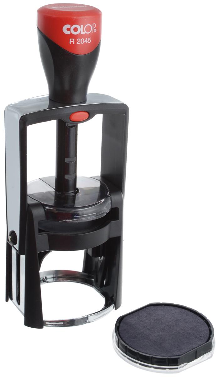 Colop Оснастка для круглой печати Classic Line 45 ммR2045Оснастка для круглой печати Colop Classic Line в металлическом корпусе с пластиковым обрамлением. Предназначена для круглой печати диаметром 45 мм. Отличается мягкостью и бесшумностью работы. Окрашивание происходит автоматически. Рукоятка оснастки - с антибактериальными свойствами. В комплекте: оснастка, синяя сменная подушка E/R45. Диаметр - 45 мм.