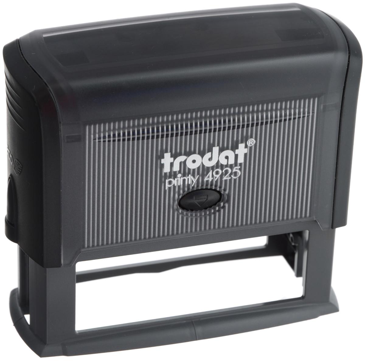 Trodat Оснастка для штампа 82 х 25 мм4925Оснастка для штампа Trodat будет незаменима в отделе кадров или в бухгалтерии любой компании. Прочный пластиковый корпус с автоматическим окрашиванием гарантирует долговечное бесперебойное использование. Модель отличается высочайшим удобством в использовании и оптимально ложится в руку. Оттиск проставляется практически бесшумно, легким нажатием руки. Улучшенная конструкция и видимая площадь печати гарантируют качество и точность оттиска. Текстовые пластины прямоугольной формы 82 мм х 25 мм подойдут для изготовления клише по индивидуальному заказу. Оснастка для штампа Trodat идеальна для ежедневного использования в офисе.