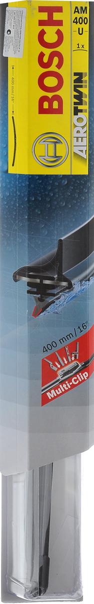 Щетка стеклоочистителя Bosch AM400U, бескаркасная, со спойлером, длина 40 см, 1 шт3397008577Бескаркасная универсальная щетка Bosch AM400U, выполненная по современной технологии из высококачественных материалов, предназначена для установки на стекло автомобиля. Отличается высоким качеством исполнения и оптимально подходит для замены оригинальных щеток, установленных на конвейере. Обеспечивает качественную очистку стекла в любую погоду. Изделие оснащено многофункциональным адаптером Multi-Clip, который превосходно подходит для наиболее распространенных типов креплений. Простой и быстрый монтаж. AEROTWIN - серия бескаркасных щеток компании Bosch. Щетки имеют встроенный аэродинамический спойлер, что делает их эффективными на высоких скоростях, и изготавливаются из многокомпонентной резины с применением натурального каучука.