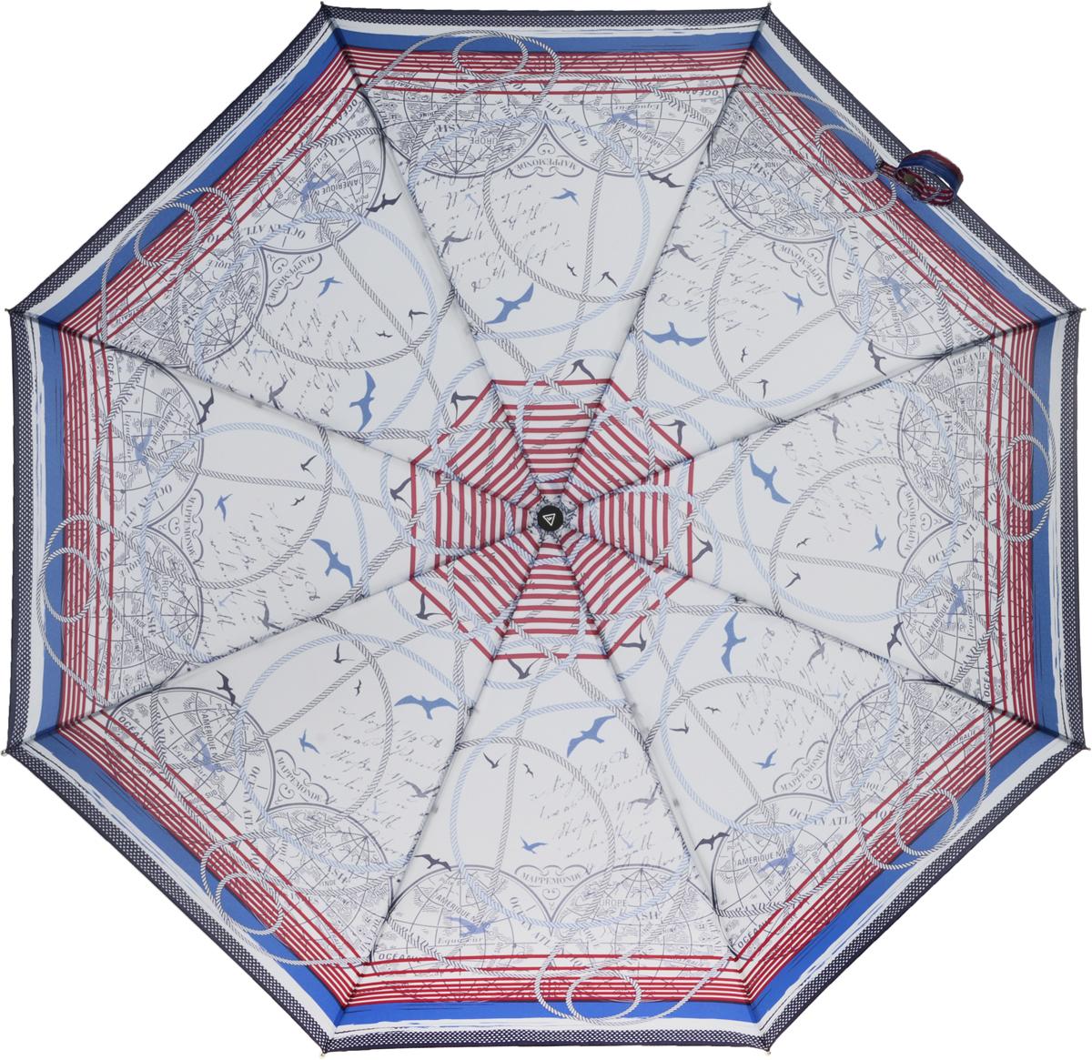Зонт женский Fabretti, автомат, 3 сложения, цвет: синий. L-16101-1L-16101-1Зонт женский Fabretti, облегченный суперавтомат, 3 сложения.Летняя расцветка этого зонтика развеет печаль в любую погоду! Поднимите настроение себе и окружающим!