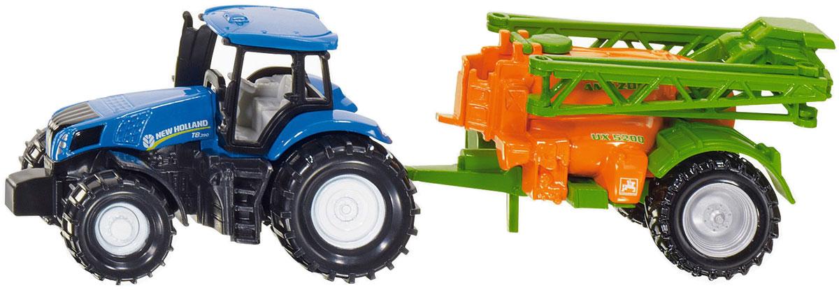 Siku Трактор New Holland с опрыскивателем1668Трактор Siku New Holland с опрыскивателем выполнен в виде уменьшенной копии настоящей модели. Такая игрушка понравится не только ребенку, но и взрослому коллекционеру, и приятно удивит вас высочайшим качеством исполнения. Изделие выполнено в виде трактора синего цвета с прицепом- опрыскивателем оранжевого и зеленого цветов. Прицеп может легко отсоединяться от трактора. Модель станет не только интересной игрушкой для ребенка, но и займет достойное место в коллекции.