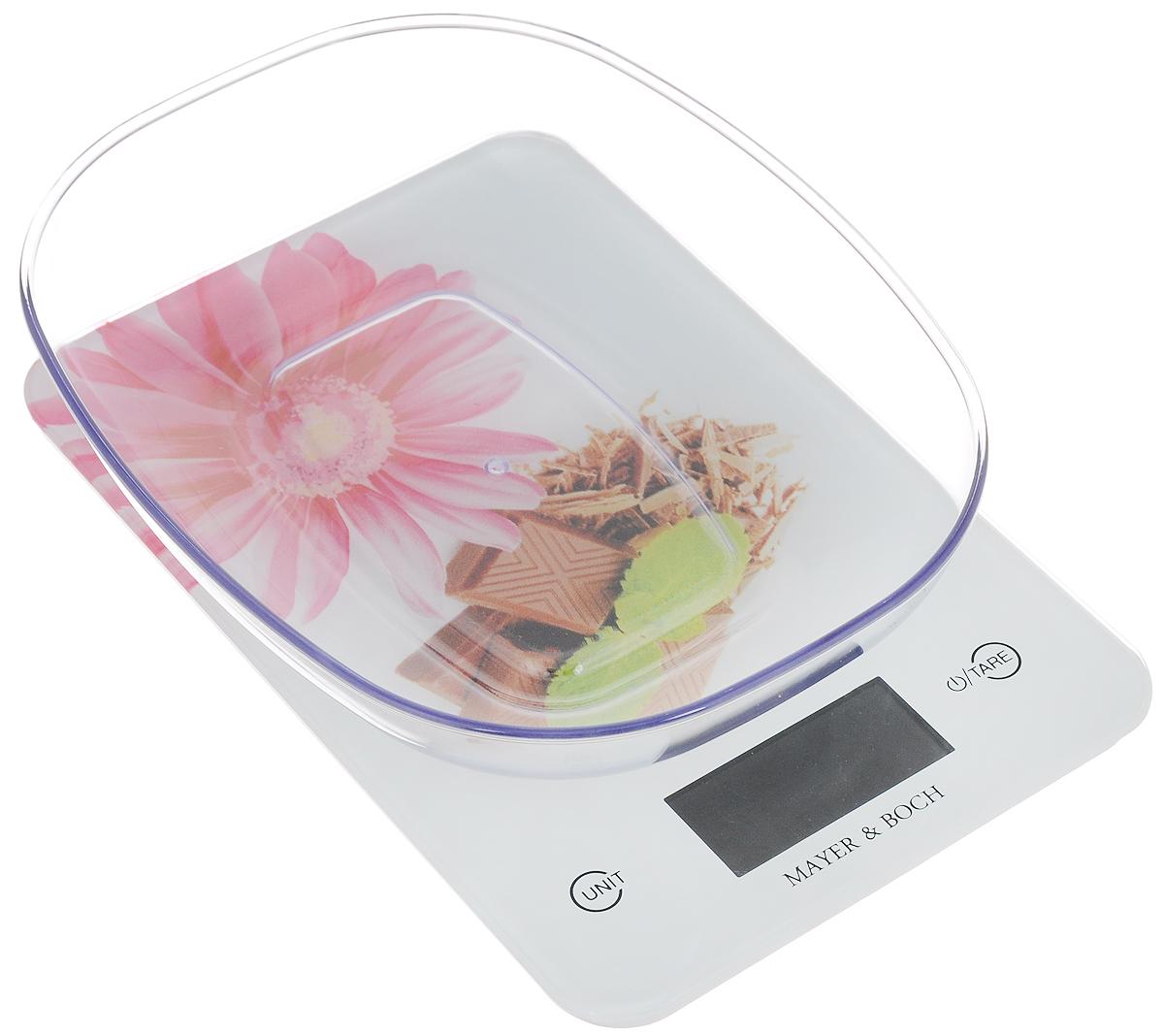 Весы кухонные Mayer & Bosh, с чашей, цвет: белый, розовый, коричневый, до 5 кг. 1096010960Кухонные весы Mayer & Boch изготовлены из высококачественного пластика. Изделие оснащено акриловой панелью и съемной чашей. Весы имеют цифровой LCD-дисплей с функцией автоматического отключения и тарокомпенсации, а также мощный процессор и тензометрический датчик высокой прочности. Кухонные весы Mayer & Boch пригодятся на любой кухне и станут прекрасным дополнением к набору вашей мелкой бытовой техники. Используя их, вы сможете готовить блюда, точно следуя предложенной рецептуре, что немаловажно при приготовлении сложных блюд, соусов и выпечки. Оригинальные, с ярким дизайном, такие весы украсят любую кухню и принесут радость каждой хозяйке. Нагрузка: 2 - 5000 г. Питание: ААА х 2 (входят в комплект). Размер весов: 23 х 15 х 1,5 см. Размер чаши: 22 х 17 х 4,5 см.