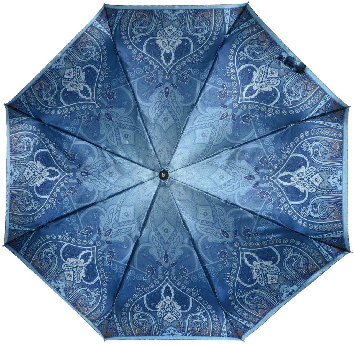 Зонт женский Fabretti, автомат, 3 сложения, цвет: синий. L-16105-11L-16105-11Зонт женский Fabretti, облегченный суперавтомат, 3 сложения