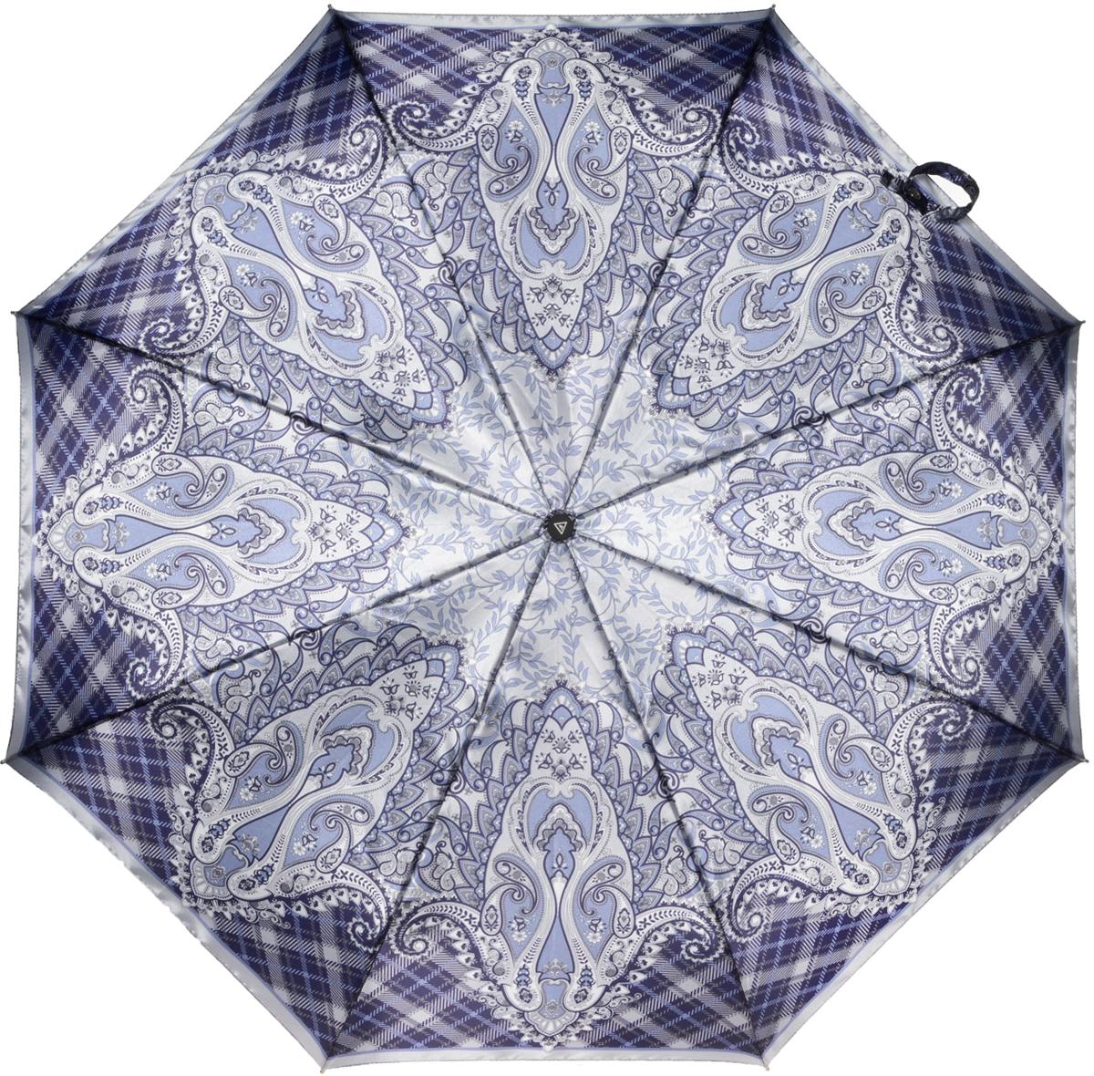 Зонт женский Fabretti, полный автомат, 3 сложения, цвет: серый. S-16100-1S-16100-1Зонт женский Fabretti, суперавтомат, 3 сложения, сатин