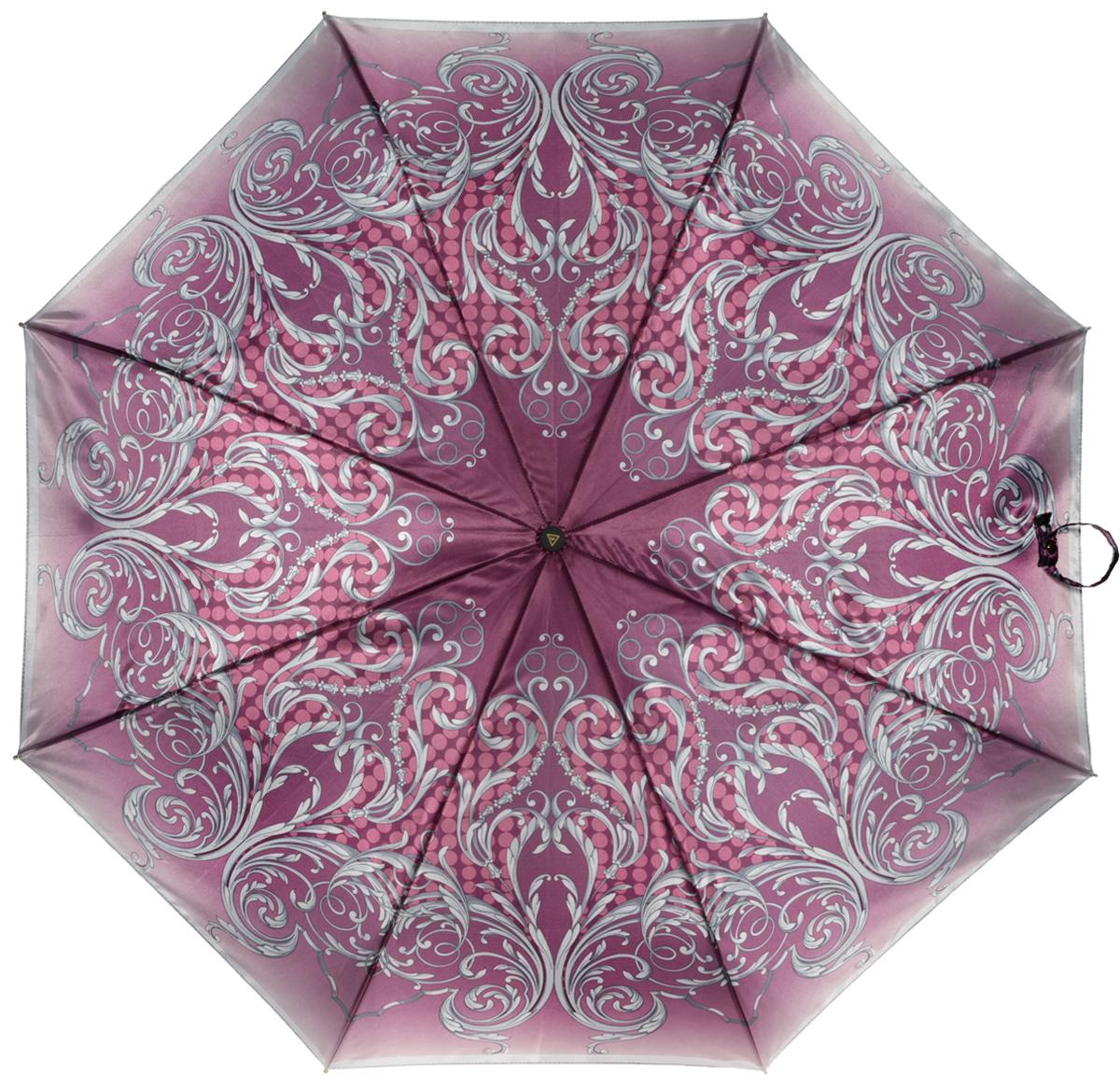 Зонт женский Fabretti, полный автомат, 3 сложения, цвет: бордовый. S-16103-5S-16103-5Зонт женский Fabretti, суперавтомат, 3 сложения, сатин