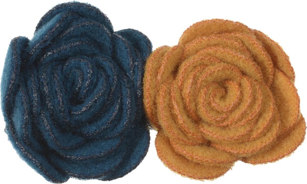 Baby\'s Joy Зажим для волос Цветок цвет синий светло-коричневый ( VT 71 )
