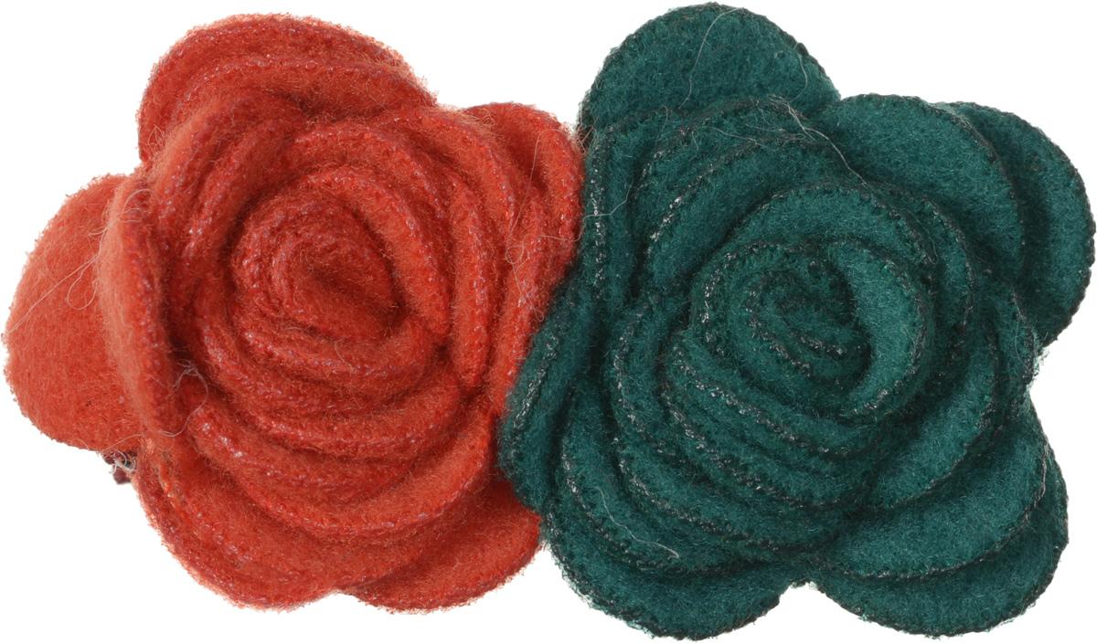 Baby\'s Joy Зажим для волос Цветок цвет зеленый оранжевый ( VT 71_зеленый оранжевый )