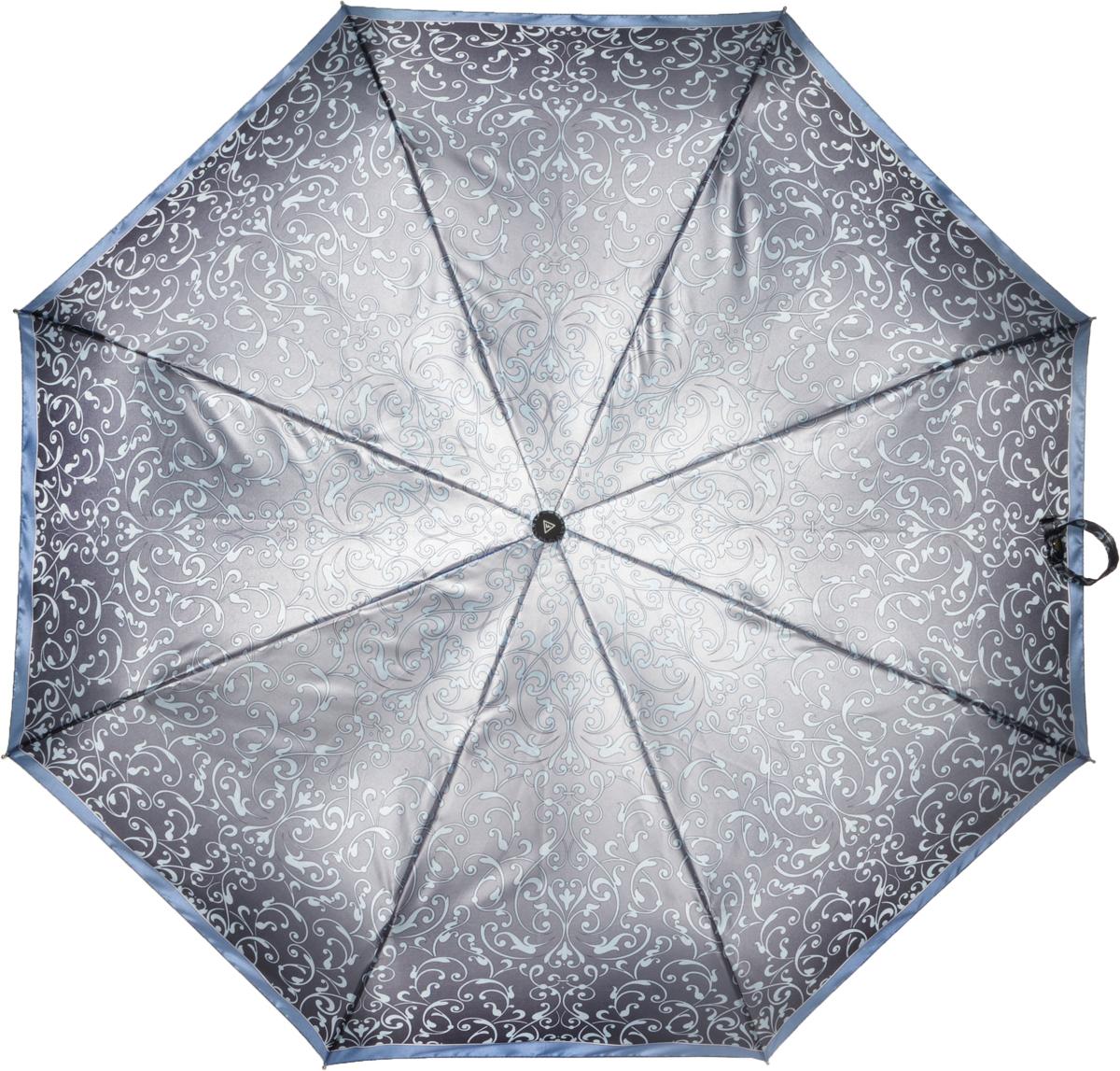 Зонт женский Fabretti, автомат, 3 сложения, цвет: серый. L-16106-1L-16106-1Зонт женский Fabretti, облегченный суперавтомат, 3 сложения