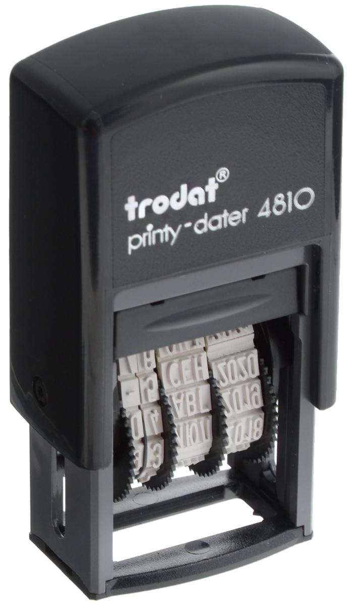 Trodat Мини-датер Printy месяц прописью4810Компактный мини-датер Trodat Printy с пластиковым корпусом и автоматическим окрашиванием рассчитан на 12 лет, включая текущий год. Установка даты осуществляется с помощью колесиков. Высота шрифта - 3,8 мм. Оттиск однострочный. Месяц указывается прописью.