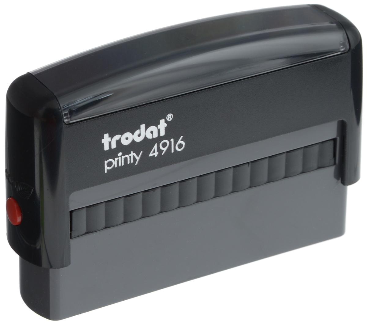 Trodat Оснастка для штампа 70 х 10 мм4916Оснастка для штампа Trodat - это идеальный инструмент для постоянного интенсивного использования в офисе. Прочный пластиковый корпус с автоматическим окрашиванием гарантирует долговечное бесперебойное использование. Модель отличается высочайшим удобством в использовании и оптимально ложится в руку. Оттиск проставляется практически бесшумно, легким нажатием руки. Улучшенная конструкция и видимая площадь печати гарантируют качество и точность оттиска. Модель оснащена кнопкой блокировки.