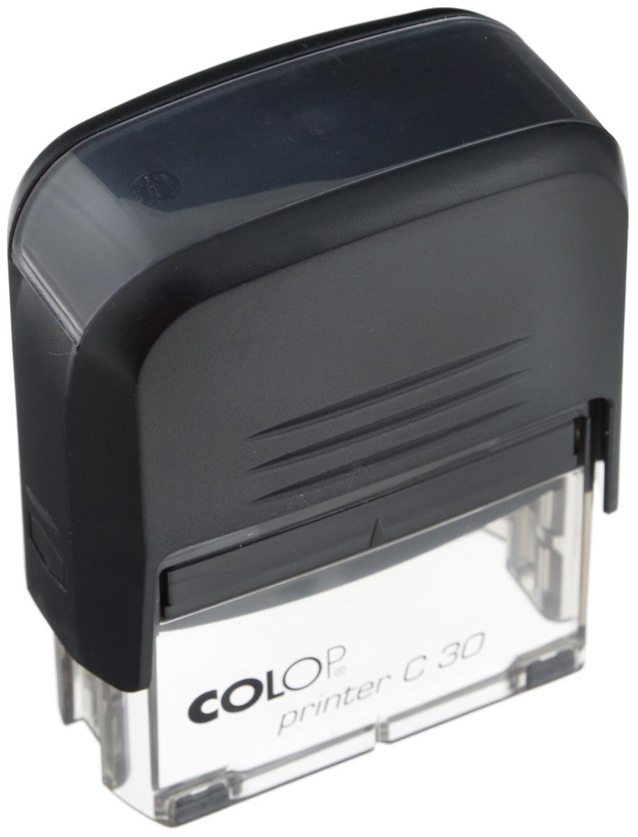Colop Оснастка для штампа 18 х 47 ммPrinter C30-SETАвтоматическая оснастка Colop с надежным корпусом из пластика и поворотным механизмом, окрашивающим текст. Используется для самостоятельного набора и изменения текста. Крепление символов на одной ножке. Количество строк и символов в строке при использовании рамки указано в скобках. Штампы, модифицированные рамкой, могут использоваться как с рамкой, так и без. Количество строк - 5. В комплекте: оснастка, синяя сменная подушка С10894.