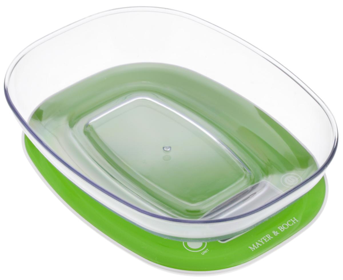 Весы кухонные Mayer & Bosh, с чашей, цвет: зеленый, белый, до 5 кг. 1095410954Кухонные весы Mayer & Boch изготовлены из высококачественного пластика. Изделие оснащено акриловой панелью и съемной чашей. Весы имеют цифровой LCD-дисплей с функцией автоматического отключения и тарокомпенсации, а также мощный процессор и тензометрический датчик высокой прочности. Кухонные весы Mayer & Boch пригодятся на любой кухне и станут прекрасным дополнением к набору вашей мелкой бытовой техники. Используя их, вы сможете готовить блюда, точно следуя предложенной рецептуре, что немаловажно при приготовлении сложных блюд, соусов и выпечки. Оригинальные, с ярким дизайном, такие весы украсят любую кухню и принесут радость каждой хозяйке. Нагрузка: 2 - 5000 г. Питание: ААА х 2 (входят в комплект). Размер весов: 21 х 16 х 2 см. Размер чаши: 22 х 17 х 4,5 см.