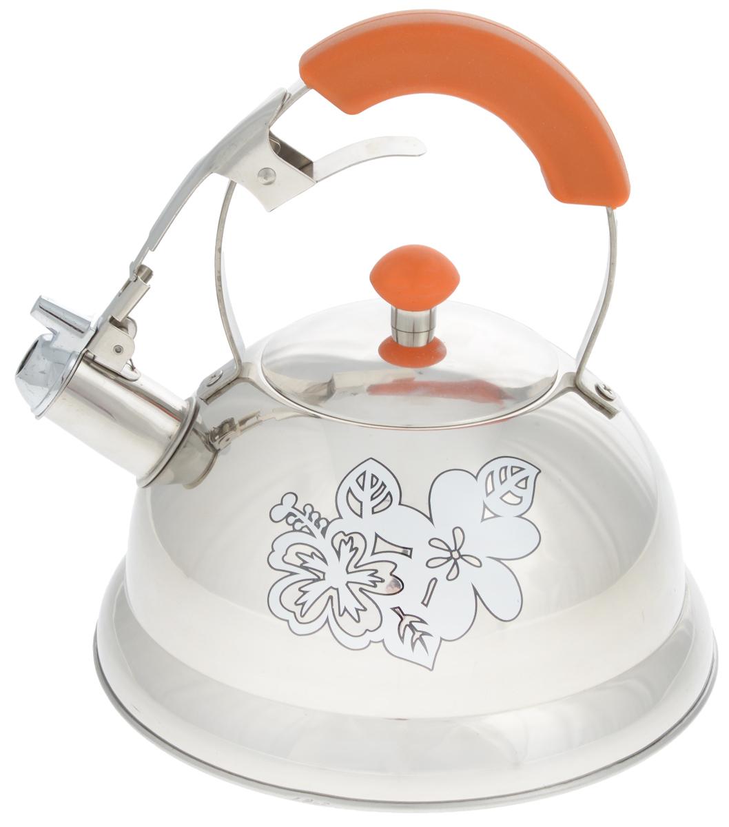 Чайник Mayer & Boch, со свистком, 2,6 л22792Чайник Mayer & Boch выполнен из высококачественной нержавеющей стали. Носик чайника оснащен насадкой-свистком, что позволит вам контролировать процесс подогрева или кипячения воды. Металлическая ручка с бакелитовой вставкой делает использование чайника очень удобным и безопасным. Внешние стенки чайника декорированы изображением цветов. Эстетичный и функциональный чайник будет оригинально смотреться в любом интерьере. Подходит для газовых, электрических, стеклокерамических и индукционных плит. Можно мыть в посудомоечной машине. Диаметр чайника (по верхнему краю): 10 см. Диаметр основания: 22 см. Высота чайника (без учета ручки): 11,5 см. Высота чайника (с учетом ручки): 24,5 см.