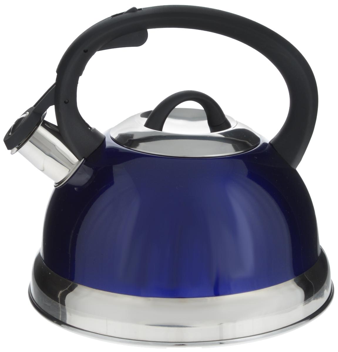 Чайник Mayer & Boch, со свистком, цвет: синий, черный, серебристый, 2,6 л. 2828Чайник Mayer & Boch выполнен из высококачественной нержавеющей стали, что делает его весьма гигиеничным и устойчивым к износу при длительном использовании. Носик чайника оснащен насадкой-свистком, что позволит вам контролировать процесс подогрева или кипячения воды. Фиксированная ручка, изготовленная из пластика, делает использование чайника очень удобным и безопасным. Поверхность чайника гладкая, что облегчает уход за ним. Эстетичный и функциональный чайник будет оригинально смотреться в любом интерьере. Подходит для всех типов плит, включая индукционные. Можно мыть в посудомоечной машине. Высота чайника (с учетом ручки и крышки): 20,5 см. Диаметр чайника (по верхнему краю): 10,5 см. Диаметр основания: 21 см.