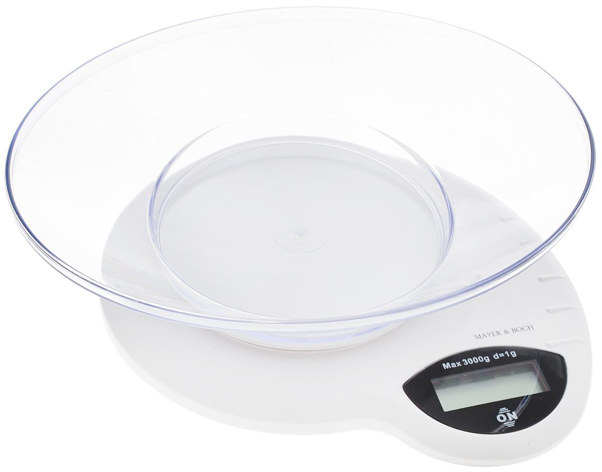 Весы кухонные Mayer & Bosh, с чашей, цвет: белый, черный, до 3 кг. 2091020910Кухонные весы Mayer & Boch изготовлены из высококачественного пластика. Изделие оснащено акриловой панелью и съемной чашей. Весы имеют цифровой LCD-дисплей с функцией автоматического отключения и тарокомпенсации, а также мощный процессор и тензометрический датчик высокой прочности. Кухонные весы Mayer & Boch пригодятся на любой кухне и станут прекрасным дополнением к набору вашей мелкой бытовой техники. Используя их, вы сможете готовить блюда, точно следуя предложенной рецептуре, что немаловажно при приготовлении сложных блюд, соусов и выпечки. Оригинальные, с ярким дизайном, такие весы украсят любую кухню и принесут радость каждой хозяйке. Нагрузка: 2 г - 3000 г. Размер весов: 20 х 19 х 4,5 см. Размер чаши: 22,5 х 18 х 5 см. Питание: 2 х ААА (входят в комплект).