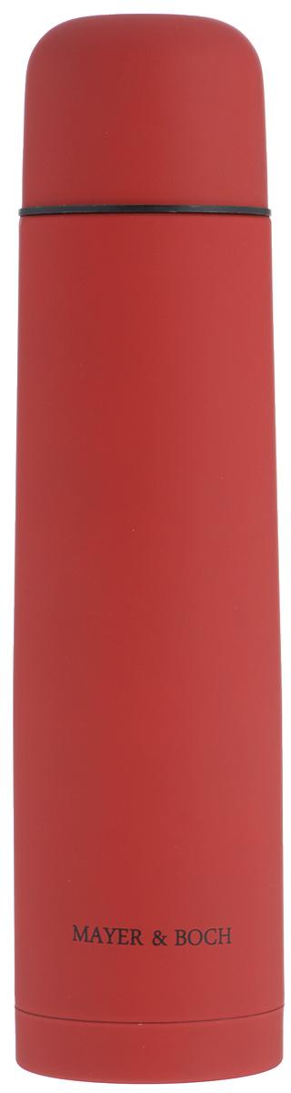 Термос Mayer & Boch, цвет: красный, 1л. 2588025880Термос Mayer & Boch выполнен из качественной нержавеющей стали, которая не вступает в реакцию с содержимым термоса и не изменяет вкусовых качеств напитка. Двойная стенка из нержавеющей стали сохраняет температуру на срок до 24-х часов. Вакуумный закручивающийся клапан предохраняет от проливаний, а удобная кнопка-дозатор избавит от необходимости каждый раз откручивать крышку. Крышку можно использовать как чашку. Цветное покрытие обеспечивает защиту от истирания корпуса. Данная модель термоса прочная, долговечная и в то же время легкая. Стильный металлический термос понравится абсолютно всем и впишется в любой интерьер кухни. Не рекомендуется мыть в посудомоечной машине. Диаметр горлышка: 5 см. Диаметр основания термоса: 8 см. Высота термоса: 31,5 см.