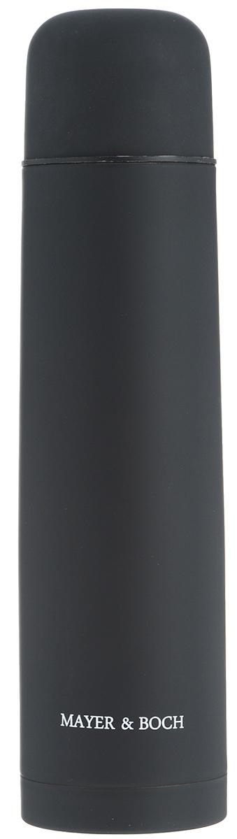 Термос Mayer & Boch, цвет: черный, 1 л. 2588125881Термос Mayer & Boch выполнен из качественной нержавеющей стали, которая не вступает в реакцию с содержимым термоса и не изменяет вкусовых качеств напитка. Двойная стенка из нержавеющей стали сохраняет температуру на срок до 24-х часов. Вакуумный закручивающийся клапан предохраняет от проливаний, а удобная кнопка- дозатор избавит от необходимости каждый раз откручивать крышку. Крышку можно использовать как чашку. Цветное покрытие обеспечивает защиту от истирания корпуса. Данная модель термоса прочная, долговечная и в то же время легкая. Стильный металлический термос понравится абсолютно всем и впишется в любой интерьер кухни. Не рекомендуется мыть в посудомоечной машине. Диаметр горлышка: 5 см. Диаметр основания термоса: 8 см. Высота термоса: 31,5 см.