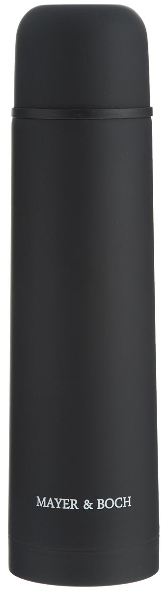 Термос Mayer & Boch, цвет: черный, 750 мл. 2589125891Термос Mayer & Boch выполнен из качественной нержавеющей стали, которая не вступает в реакцию с содержимым термоса и не изменяет вкусовых качеств напитка. Двойная стенка из нержавеющей стали сохраняет температуру на срок до 24-х часов. Вакуумный закручивающийся клапан предохраняет от проливаний, а удобная кнопка-дозатор избавит от необходимости каждый раз откручивать крышку. Крышку можно использовать как чашку. Цветное покрытие обеспечивает защиту от истирания корпуса. Данная модель термоса прочная, долговечная и в тоже время легкая. Стильный металлический термос понравится абсолютно всем и впишется в любой интерьер кухни. Не рекомендуется мыть в посудомоечной машине. Диаметр горлышка: 4,4 см. Диаметр основания термоса: 7,5 см. Высота термоса: 28,5 см.