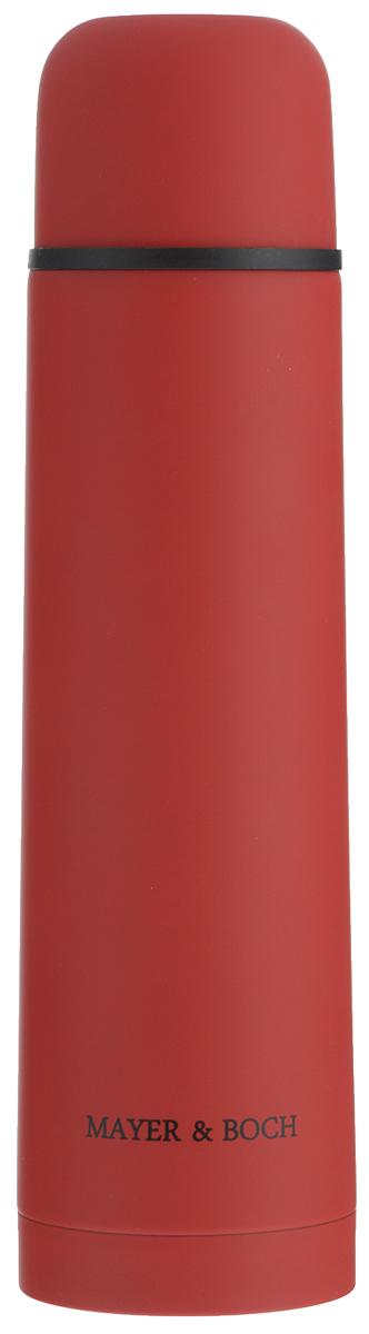Термос Mayer & Boch, цвет: красный, 750 мл. 2589025890Термос Mayer & Boch выполнен из качественной нержавеющей стали, которая не вступает в реакцию с содержимым термоса и не изменяет вкусовых качеств напитка. Двойная стенка из нержавеющей стали сохраняет температуру на срок до 24-х часов. Вакуумный закручивающийся клапан предохраняет от проливаний, а удобная кнопка-дозатор избавит от необходимости каждый раз откручивать крышку. Крышку можно использовать как чашку. Цветное покрытие обеспечивает защиту от истирания корпуса. Данная модель термоса прочная, долговечная и в тоже время легкая. Стильный металлический термос понравится абсолютно всем и впишется в любой интерьер кухни. Не рекомендуется мыть в посудомоечной машине. Диаметр горлышка: 4,4 см. Диаметр основания термоса: 7,5 см. Высота термоса: 28,5 см.