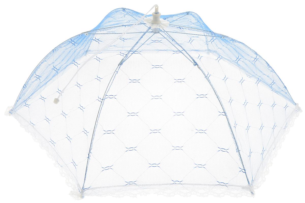 Зонт для продуктов Мультидом, цвет: синий, белый, 65 х 65 х 20 смFY84-29Зонт для продуктов Мультидом изготовлен из полиэстеровой сетки с каркасом из пластмассы и металла. Изделие выполнено в виде шестиугольного купола, который легко собирается и разбирается. Таким зонтом очень удобно пользоваться на природе, он защитит ваши продукты от назойливых насекомых. Размер (в собранном виде): 65 х 65 х 20 см. Длина зонта (в сложенном виде): 42,5 см.